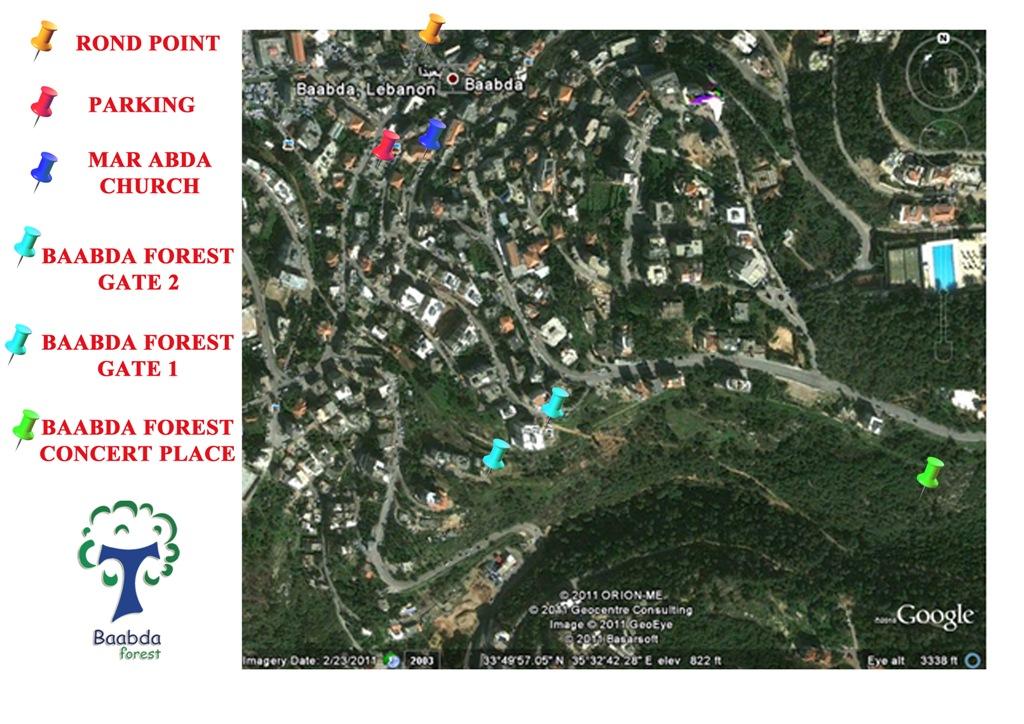 Plan d'accès au concert dans la forêt de Baabda