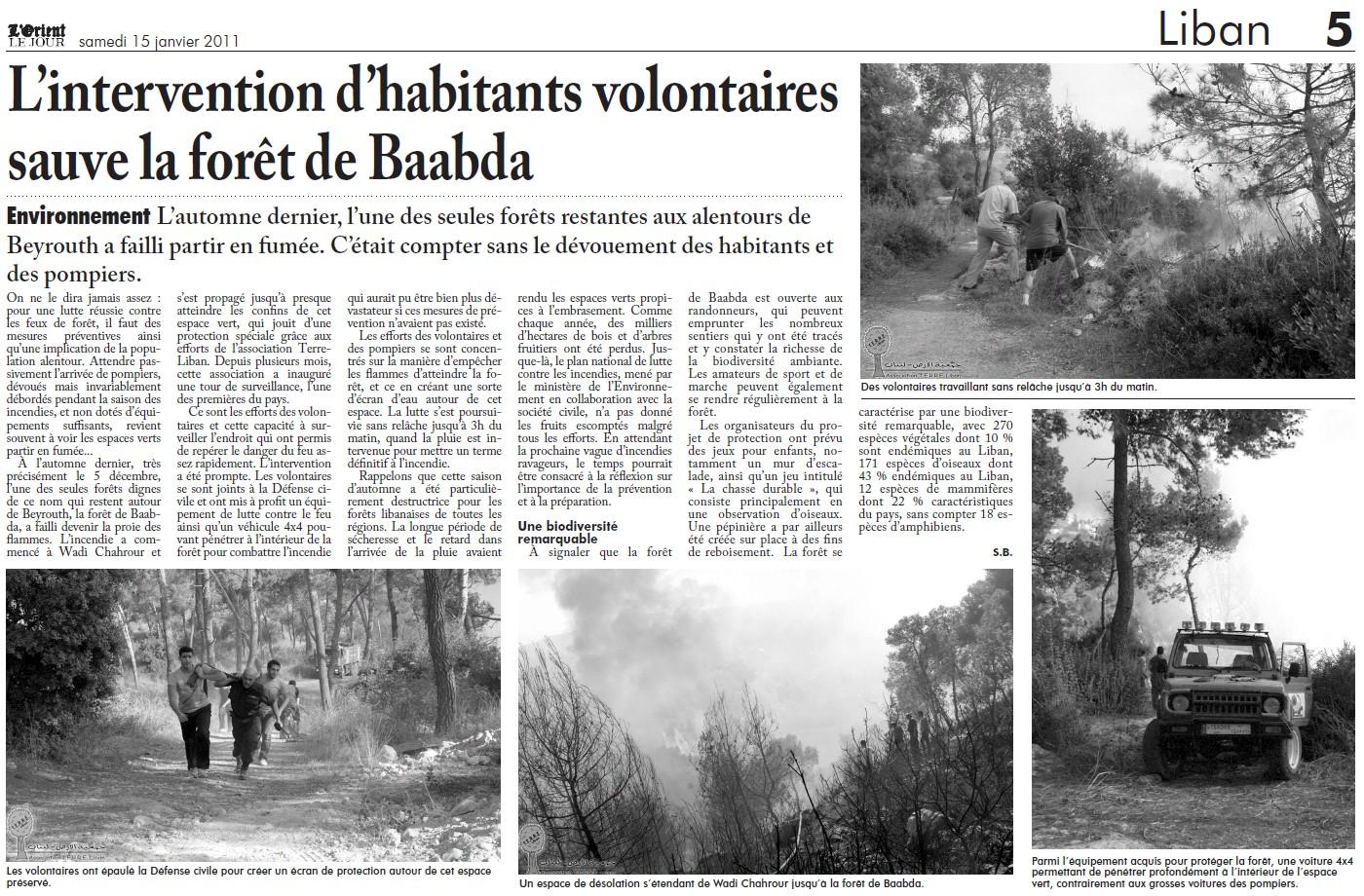 L'intervention d'habitants volontaires sauve la forêt de Baabda!